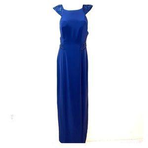 Navy sequin accent floor length dress